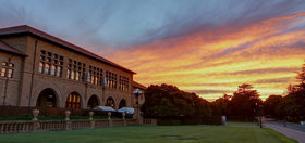 Sunset at Stanford quad