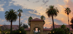 Stanford quad with palm trees